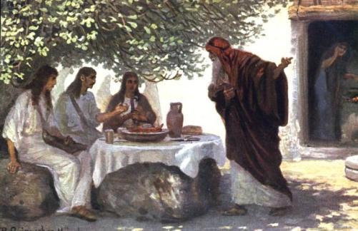 Resultado de imagen de ABRAHAM RECIBIÓ A LOS TRES MENSAJEROS DIVINOS.